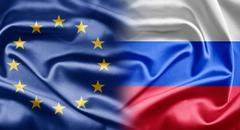 eu and russia - stock illustration