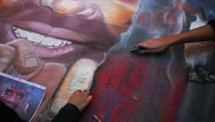 Chalk art Madonnari México Stock Footage