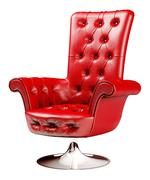 red armchair with clipping path 3d - stock illustration