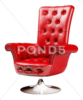 Stock Illustration of red armchair with clipping path 3d