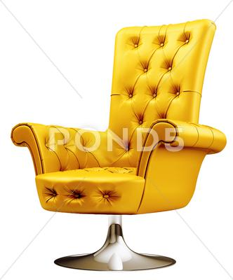 Stock Illustration of yellow armchair with clipping path 3d