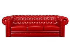 Red leather sofa 3d Stock Illustration