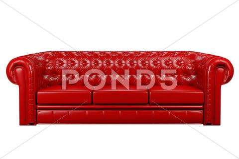 Stock Illustration of red leather sofa 3d