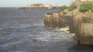 Anchor Head and Old Pier Weston-super-Mare Somerset with a full tide Stock Footage