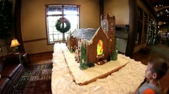 Intricate and amazing gingerbread church Stock Footage