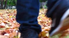 Boy Walking On Fallen Leaves in Autumn Stock Video Stock Footage
