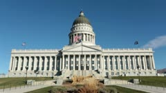 Utah State Capital front view garden flags HD 4649 Stock Footage