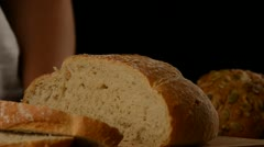 Cutting Bread - stock footage