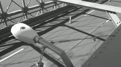 Brooklyn Bridge Vehicle Traffic--Black and White Stock Video Stock Footage