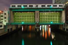 flood gate - stock photo