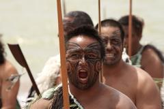 fierce maori warrior - stock photo
