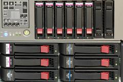 Servers stack with hard drives in a datacenter Stock Photos