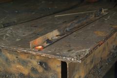 Red hot welding metalwork Stock Photos