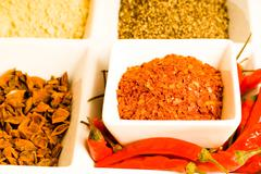 spices in dishes - stock photo