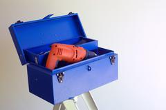 Blue diy home improvement toolbox Stock Photos