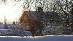 Swedish town on a very cold day - panning shot Stock Footage