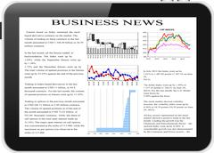 Tablet pc with business news on screen. Stock Illustration