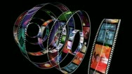 Animation of rotating film reels Stock Footage