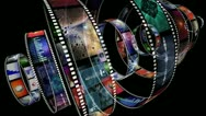 Loop-able animation of rotating film reels Stock Footage