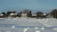 Swedish village in winter - pan Stock Footage
