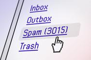 Stock Photo of email screen - spam