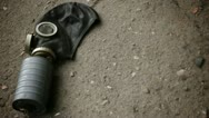 Gasmask on the pavement  Stock Footage