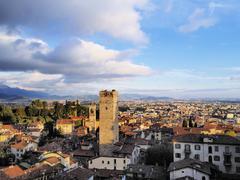Bergamo, view from city hall tower, lombardy, italy Stock Photos
