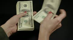 Woman's hand counts the money  Stock Footage