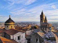 Bergamo, view from city hall tower, lombardy, italy Stock Photos