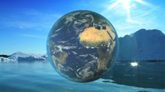 CG Graphic Globe Contrasting Water Environments Stock Footage
