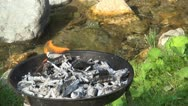 Barbecue Burning Fire, Grill Fire Near River in the Mountain Stock Footage