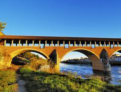 ponte coperto in pavia, lombardy, italy - stock photo