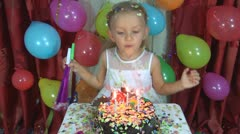 A Child Birthday, Smiling Little Girl Blowing Out Candles at her Party, Children Stock Footage