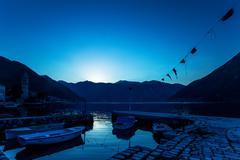 Night on the stones beach.  montenegro Stock Photos