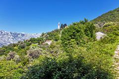 view on old ortodox church at moutains - stock photo