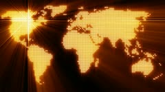Light dotted world map - stock footage
