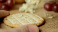 Cheese and crackers - stock footage