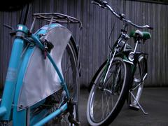 Two retro 1950's bicycles Stock Photos