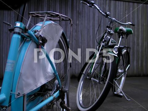 Stock photo of Two retro 1950's bicycles