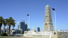 King's park war memorial with perth city in the background Stock Footage