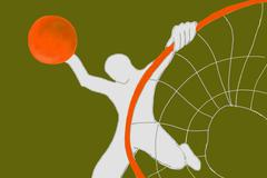 Young Adult Plays Basketball - stock illustration