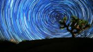 Galaxy Star Trail Timelapse Circles in Night Sky over Joshua Tree Stock Footage