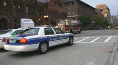 Boston Police Car Cruiser Stoped At Traffic Lights Stock Footage