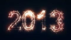 2013 Sign, New Year Sparkler Stock Footage