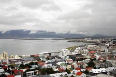 reykjavik in iceland near the bay - stock photo