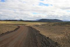 dirt road in iceland - stock photo