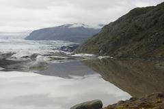 Glacier ending in lake Stock Photos
