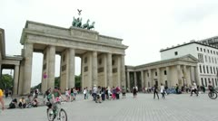 Tourists visiting Brandenburg Gate Stock Footage