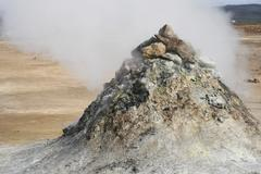 geothermal pile of sulphuric rock - stock photo