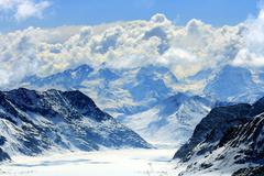 aletsch alps glacier switzerland - stock photo